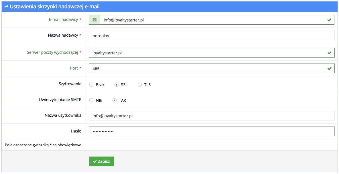 Grafika przedstawiąca widok formularza konfiguracji skrzynki nadawczej e-mail w aplikacji Loyalty Starter służącej do obsługi programów lojalnościowych.