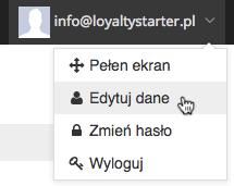 """Grafika przedstawiąca widok menu konta użytkownika aplikacji Loyalty Starter służącej do obsługi programów lojalnościowych z kursorem na wierszu """"Edytuj dane""""."""