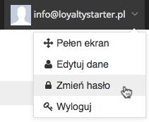 """Grafika przedstawiąca widok menu konta użytkownika aplikacji Loyalty Starter służącej do obsługi programów lojalnościowych z kursorem na wierszu """"Zmień hasło""""."""