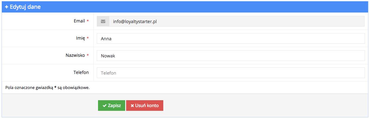 Grafika przedstawiąca widok edycji danych użytkownika aplikacji Loyalty Starter służącej do obsługi programów lojalnościowych.
