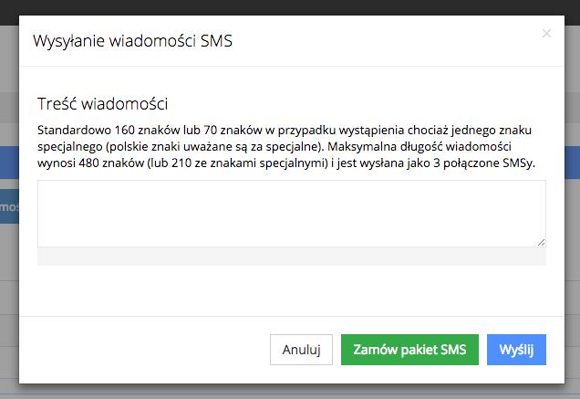 Grafika przedstawiąca widok okna do wysyłania wiadomości SMS w aplikacji Loyalty Starter służącej do obsługi programów lojalnościowych. W oknie możliwe jest wpisanie treści wiadomości.