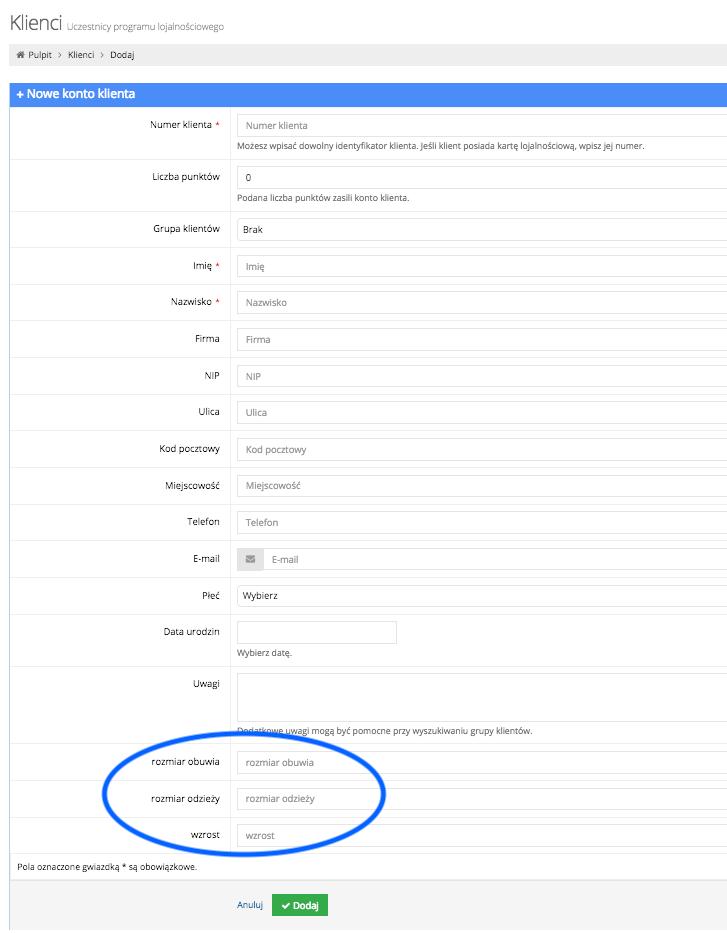 Grafika przedstawiąca widok pustego formularza dodawania nowego konta klienta w aplikacji Loyalty Starter, służącej do obsługi programów lojalnościowych, z zaznaczonymi w okręgu dodatkowymi polami.