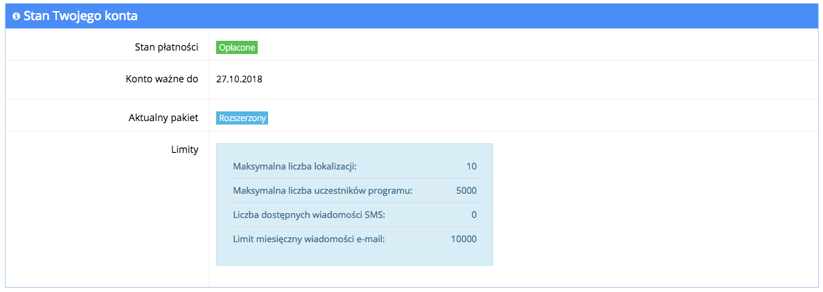 Grafika przedstawiąca widok tabeli z informacjami o stanie płatności, dacie ważności, aktualnym pakiecie oraz dostępnych limitach wykupionego pakietu w aplikacji Loyalty Starter służącej do obsługi programów lojalnościowych.