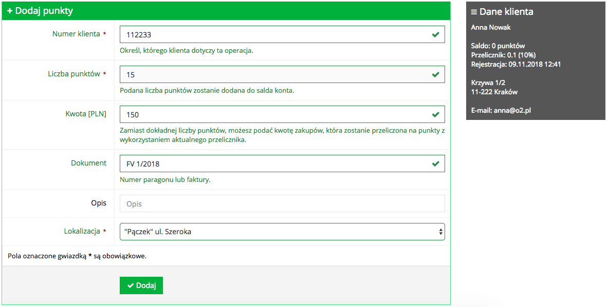 Grafika przedstawiąca widok formularza dodawania punktów klientowi w aplikacji Loyalty Starter służącej do obsługi programów lojalnościowych. Formularz zawiera pola do wpisania takich informacji, jak: numer klienta, liczba punktów, kwota, dokument, lokalizacja.