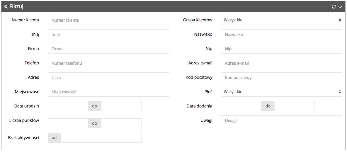 Grafika przedstawiąca widok filtrów na liście kont klientów w aplikacji Loyalty Starter służącej do obsługi programów lojalnościowych.