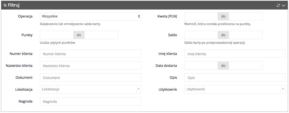 Grafika przedstawiąca widok filtrów na liście operacji w aplikacji Loyalty Starter służącej do obsługi programów lojalnościowych.