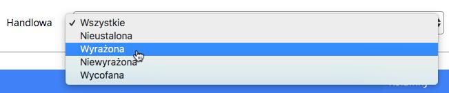 """Grafika przedstawiająca wybór filtra zgody """"Handlowa"""" w aplikacji Loyalty Starter."""