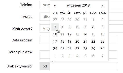 """Grafika przedstawiająca filtr """"Brak aktywności"""" i rozwiniętym kalendarzem, umożliwiającym wybranie odpowiedniej daty."""