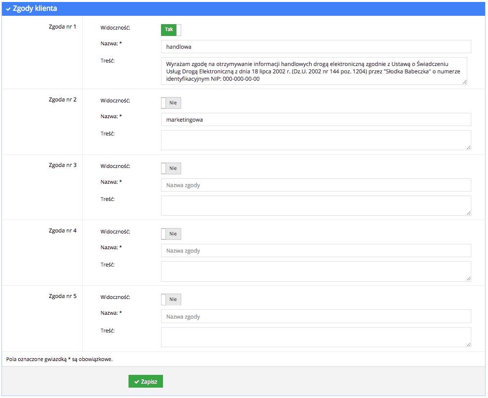 Grafika przedstawiąca widok dodawania pięciu pól ze zgodami klienta w aplikacji Loyalty Starter, służącej do obsługi programów lojalnościowych, z przyciskami włączającymi poszczególne zgody oraz wierszami nadawania im nazw oraz wpisania ich treści.