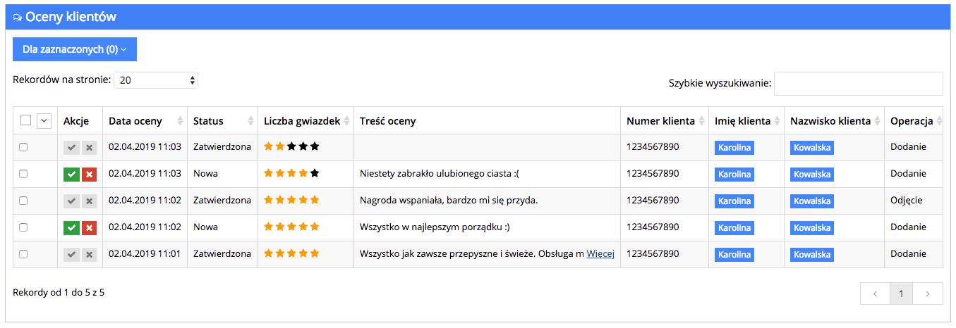 Grafika przedstawiające listę ocen klientów w aplikacji Loyalty Starter.