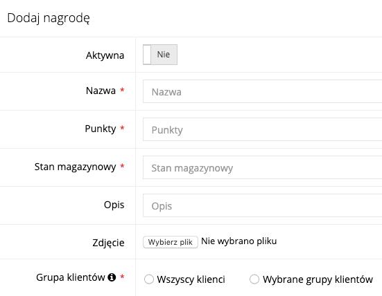 Zrzut ekranu prezentujący formularz dodawania nagrody do katalogu