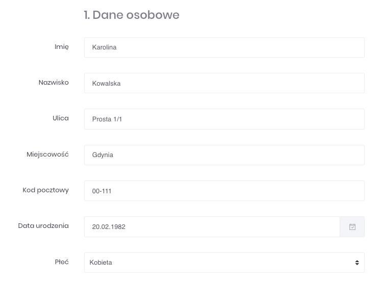 Zrzut ekranu prezentujący formularz edycji danych klienta