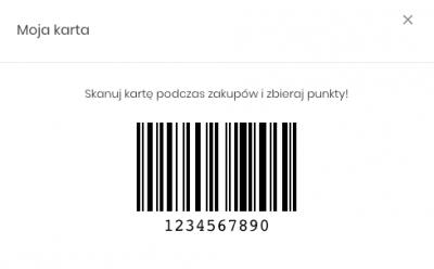 Zrzut ekranu prezentujący kod kreskowy stanowiący wirtualną kartę klienta