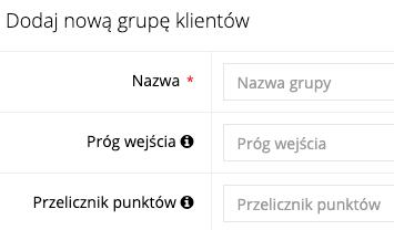 Zrzut ekranu prezentujący formularz dodawania grupy klientów