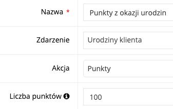 Zrzut ekranu prezentujący formularz punktów za premiowane aktywności