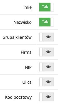 Zrzut ekranu prezentujący formularz zarządzania polami wymaganymi