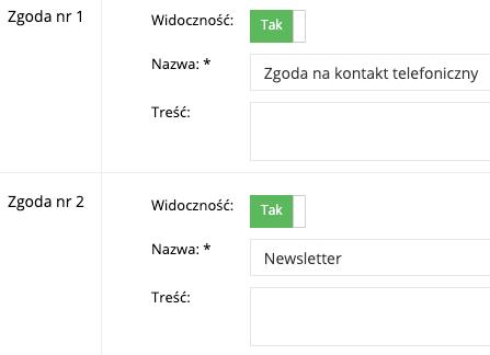 Zrzut ekranu prezentujący formularz zarządzania zgodami marketingowymi.