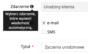 Zrzut ekranu prezentujący konfigurację automatycznej wiadomości e-mail z okazji urodzin klienta