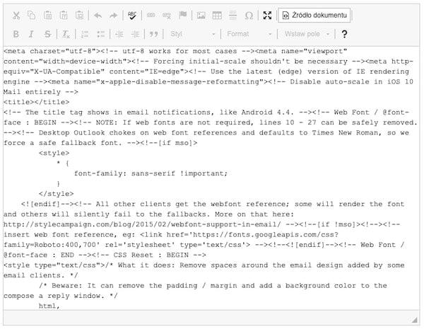 Zrzut ekranu prezentujący kod HTML wiadomości e-mail