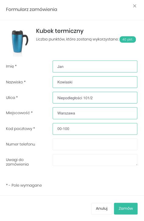 Zrzut ekranu prezentujący formularz zamówienia nagrody