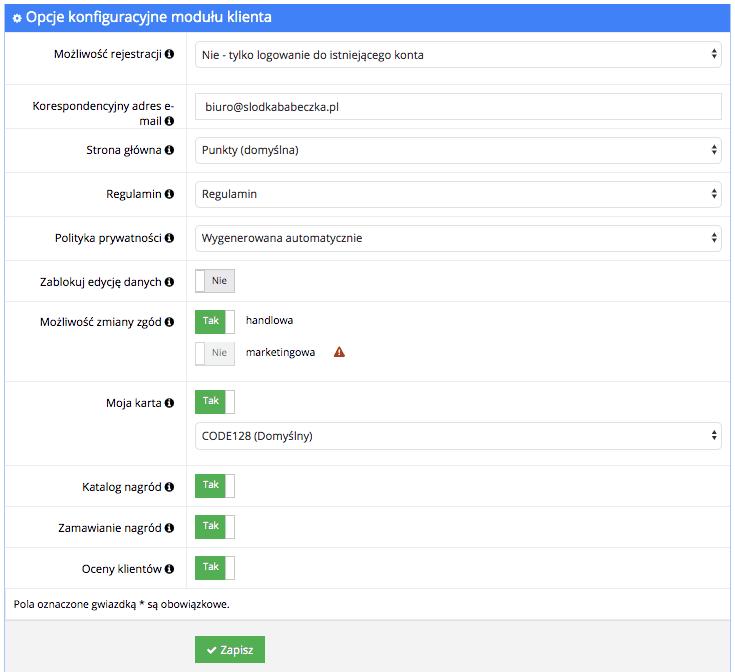 Grafika przedstawiająca zakładkę Opcje w module klienta, umożliwiająca jego konfigurację w programie Loyalty Starter.
