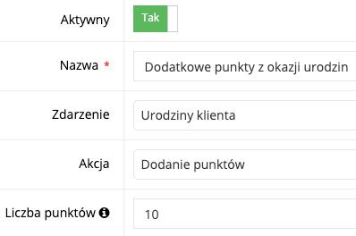 Zrzut ekranu prezentujący formularz konfigurowania scenariusza.