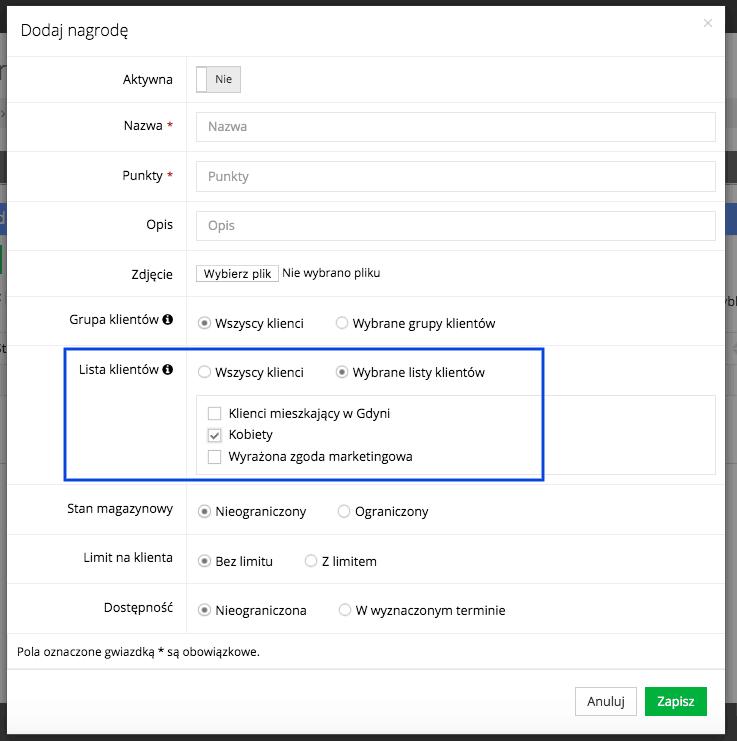 Grafika przedstawiająca formularz dodawania nagrody do katalogu w aplikacji Loyalty Starter, służącej do obsługi programów lojalnościowych.