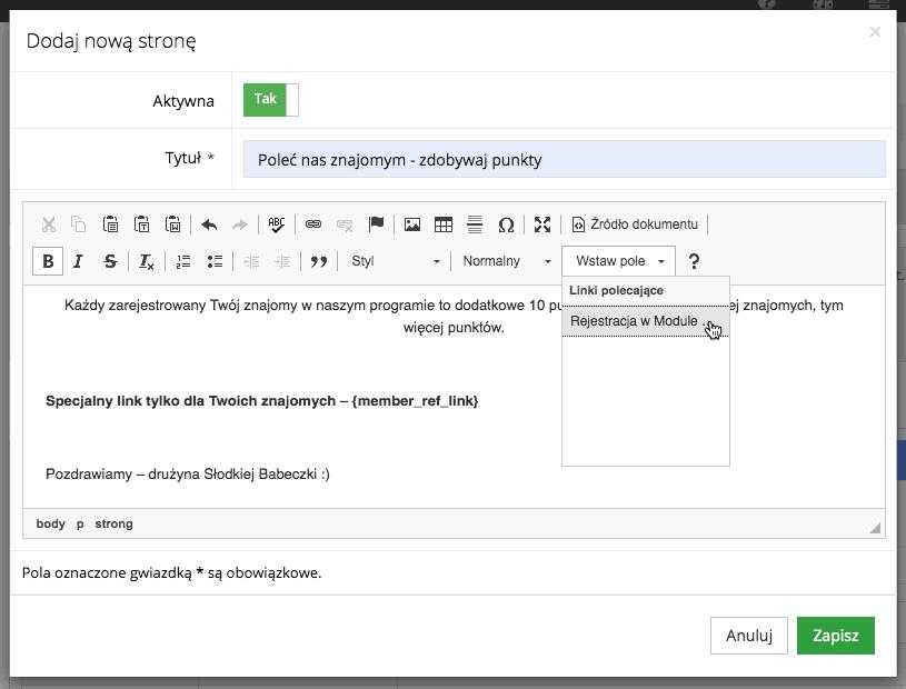 Grafika przedstawiająca formularz dodawania strony CMS w aplikacji Loyalty Starter z zaprezentowaną możliwością wstawienia spersonalizowanego linku do rejestracji w module klienta z polecenia.