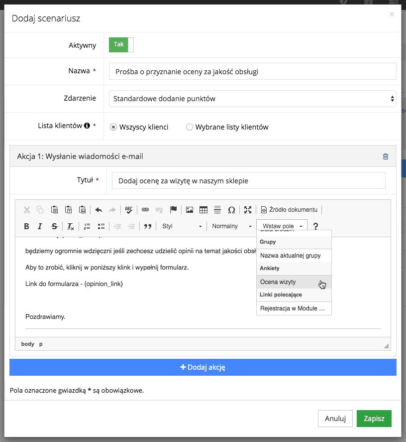 Grafika przedstawiająca formularz dodawania scenariusza w aplikacji Loyalty starter, służącej do obsługi programów lojalnościowych.