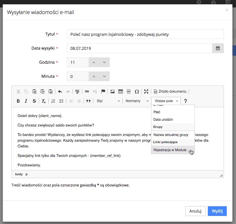 Grafika przedstawiająca formularz wysyłania wiadomości e-mail do klienta w aplikacji Loyalty Starter, z zaprezentowaną możliwością wstawienia spersonalizowanego pola.