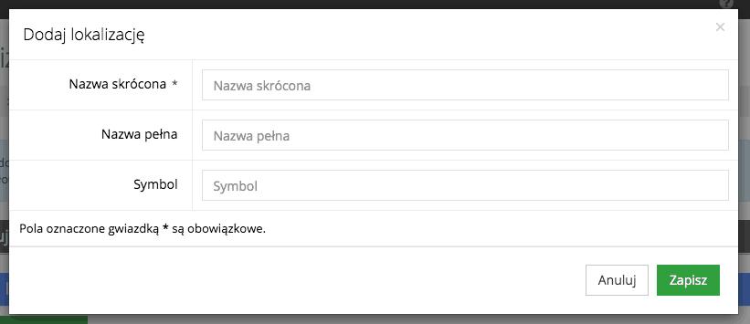 Grafika przedstawiąca widok formularza dodawania nowej lokalizacji w aplikacji Loyalty Starter służącej do obsługi programów lojalnościowych.
