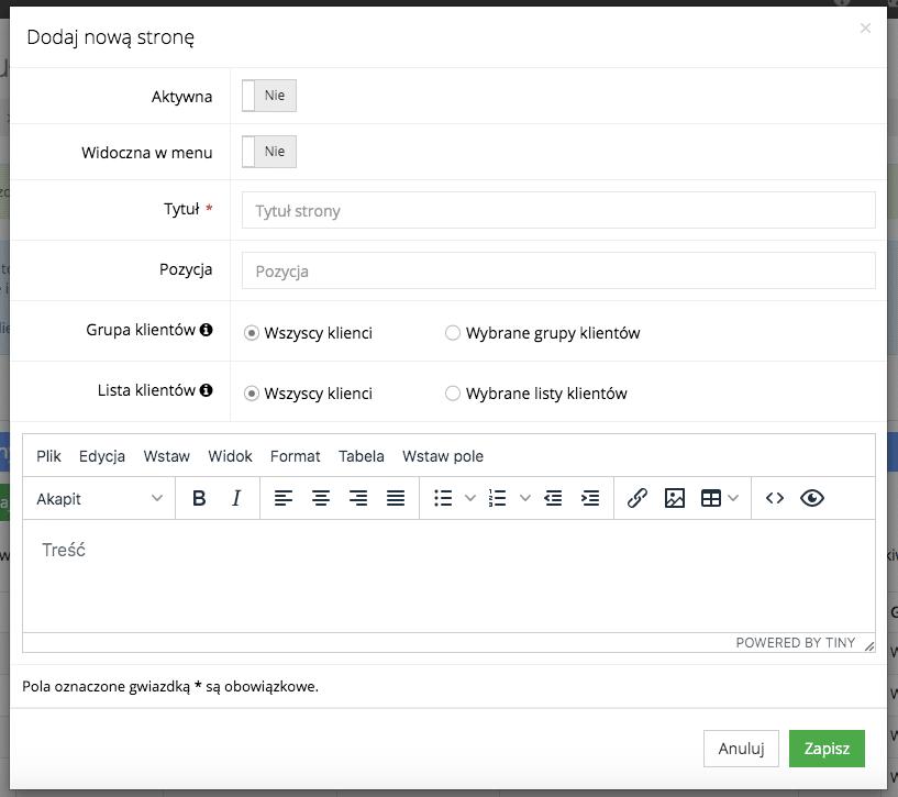 Grafika przedstawiąca okno dodawania nowej strony CMS w module klienta aplikacji Loyalty Starter służącej do obsługi programów lojalnościowych. Okno zawiera pola do wpisania tytułu trony oraz treści a także przycisk umożliwiający aktywację strony.