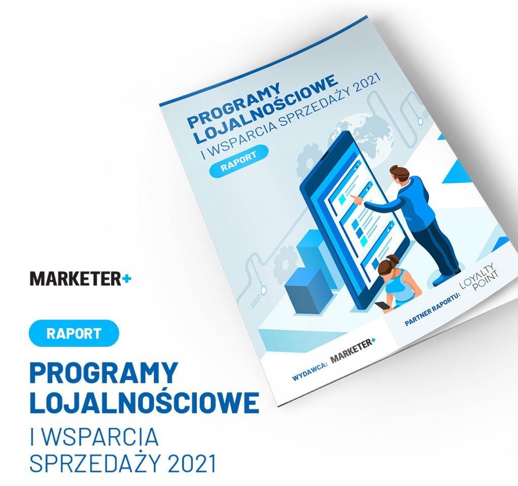 """Okładka raportu """"Programy lojalnościowe i wsparcia sprzedaży 2021"""" Marketer+"""